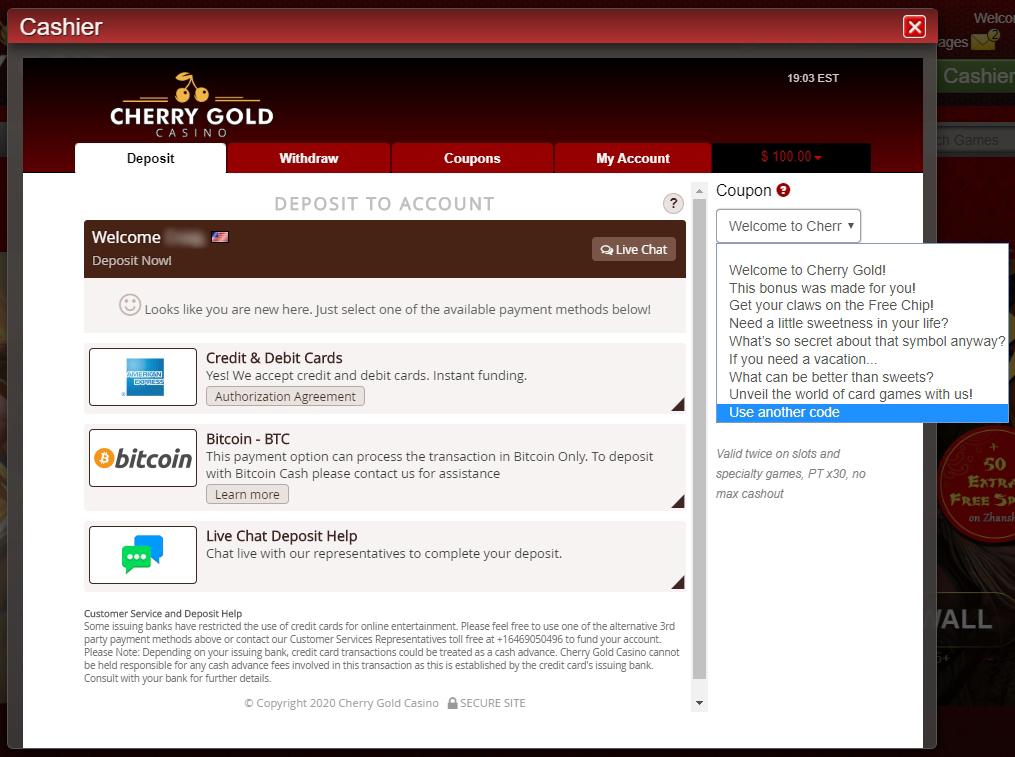 Cherry Casino Bonus Code