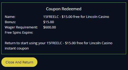 Lincoln Casino No Deposit Bonus Coupon Codes Mar 2021